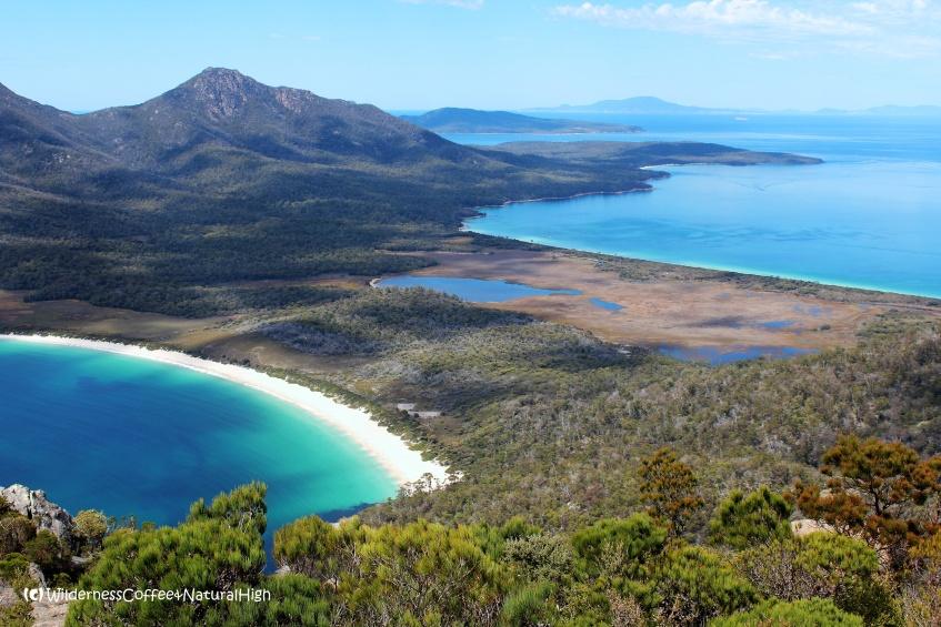 View to Wineglass Bay from Mount Amos, The Hazards, Tasmania, Australia